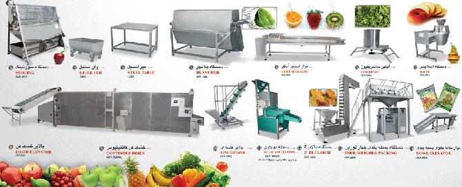 خط تولید خشک کن سبزی و میوه